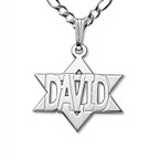 Double Thickness Silver Magen David Name Necklace