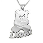 Silver Teddy Bear Children's Name Necklace