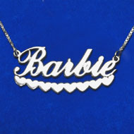 Silver Hearts Script Name Necklace