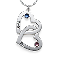 Silver Couples Heart Necklace With Swarovski Birthstones