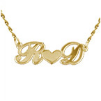 14k Gold Personal Couples Heart Pendant
