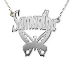Sterling Silver Personalized Butterfly Name Necklace